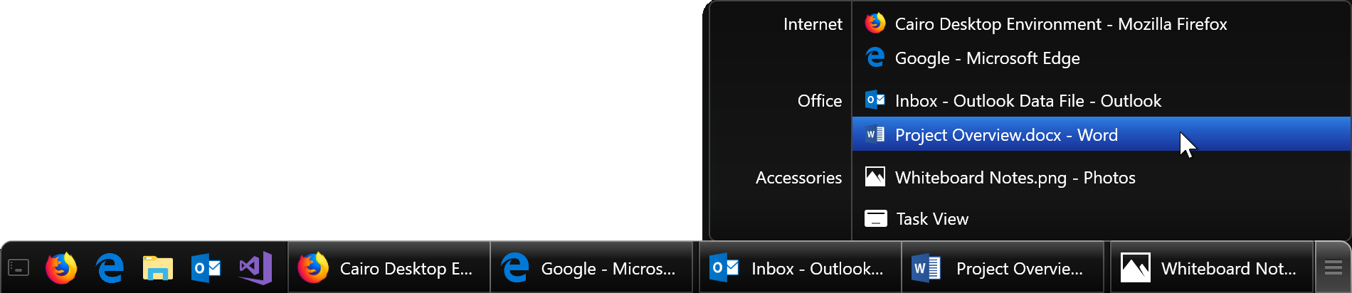 Taskbar screenshot